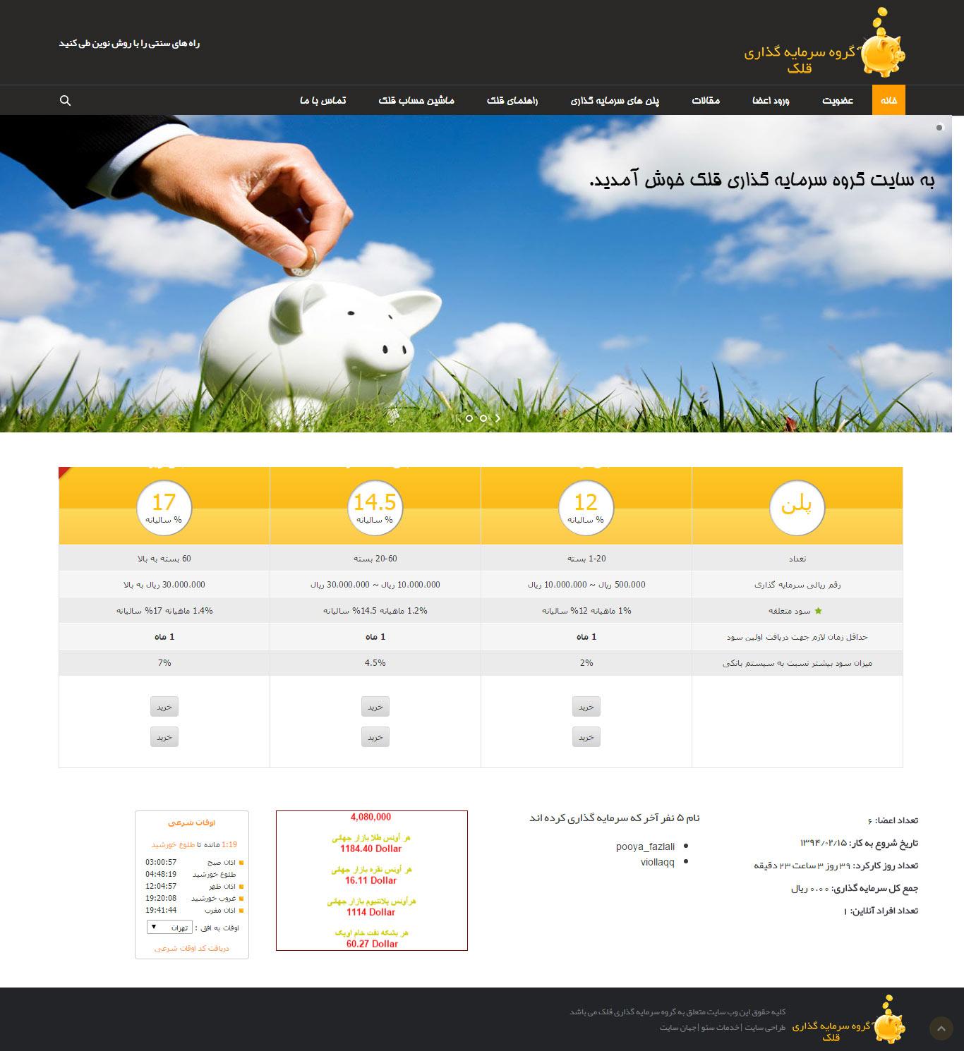 طراحی وب سایت شرکت سرمایه گذاری