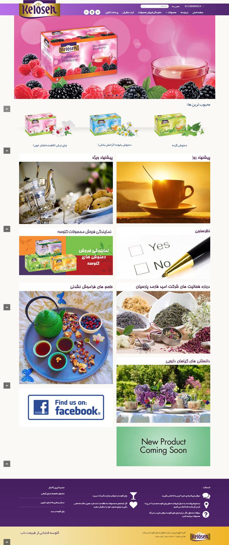طراحی سایت شرکت بازرگانی چای کلوسه