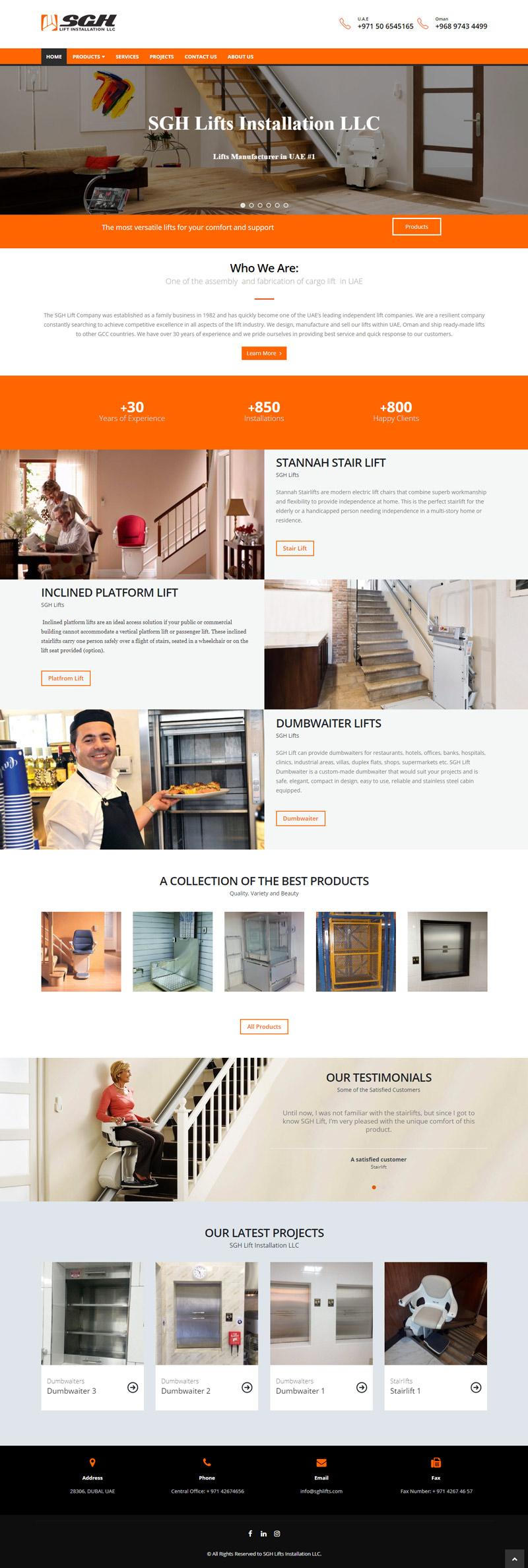 طراحی سایت شرکت آسانسور و بالابر SGH Lifts امارات - دبی